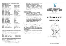 ROČENKA 2014 - Česká společnost otorinolaryngologie a chirurgie