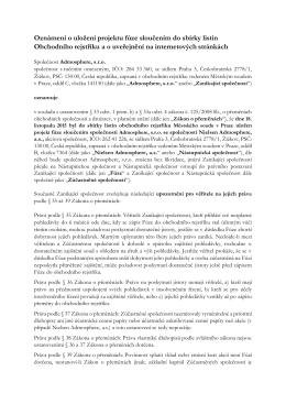Oznámení o uložení projektu fúze sloučením do sbírky listin