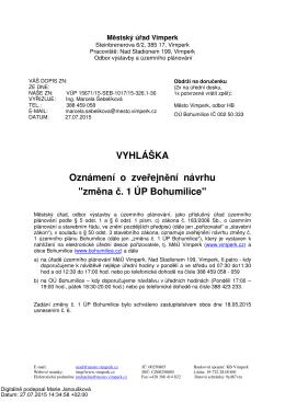 Vyhláška Oznámení o zveřejnění návrhu změna č. 1 ÚP Bohumilice