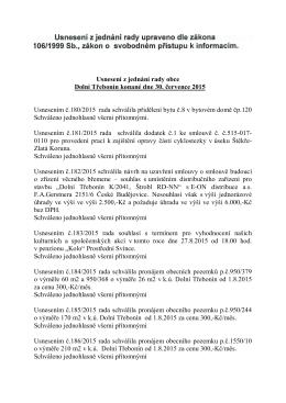 Usnesení z jednání rady obce Dolní Třebonín konané dne 30. 7. 2015