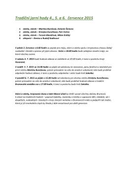 Tradiční jarní hody 4., 5. a 6. července 2015