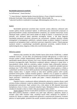 Neceliakální glutenová senzitivita Iva Hoffmanová 1, Daniel