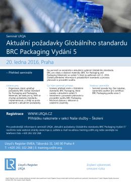 Aktuální požadavky Globálního standardu BRC Packaging Vydání 5