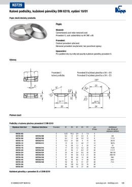Kulové podložky, kuželové pánvičky DIN 6319, vydání 10/01