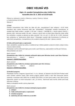 Zápis ze zasedání zastupitelstva obce, červen 2015