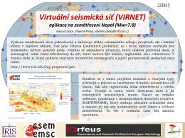 Virtuální seismická síť (VIRNET), aplikace na zemětřesení Nepál