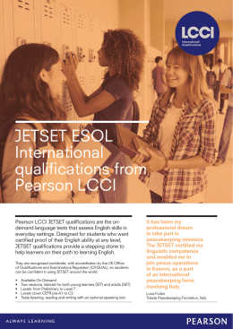 JETSET ESOL International qualifications from Pearson LCCI
