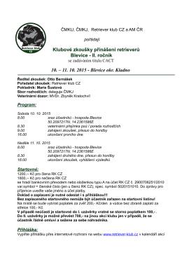 Klubové zkoušky přinášení retrieverů Blevice - II
