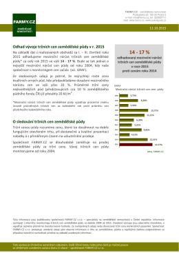 Odhad vývoje tržních cen zemědělské půdy v r. 2015