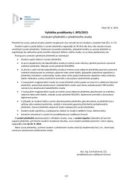 Vyhláška proděkanky č. 8PD/2015 Uznávání předmětů z