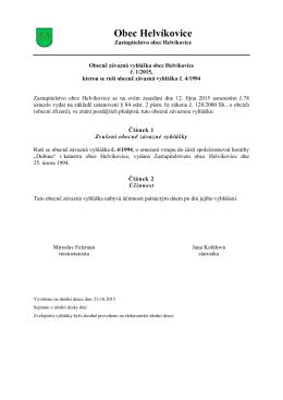 Obecně závazná vyhláška obce Helvíkovice č. 1/2015