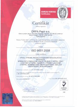 ISO: 9001:2008 - ORPA Papír as