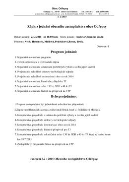Zápis z jednání obecního zastupitelstva obce