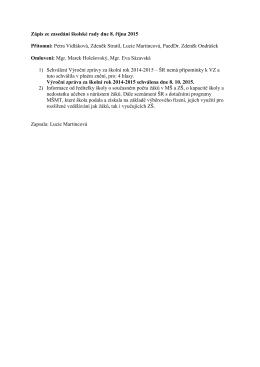 Zápis ze zasedání školské rady dne 8. října 2015 Přítomni: Petra