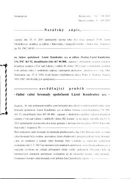 VH 2015 Lázně Kundratice a.s. NZ 150 2015 o průběhu řádné
