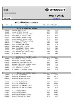 Ceníky astro techniky BRESSER - 2015