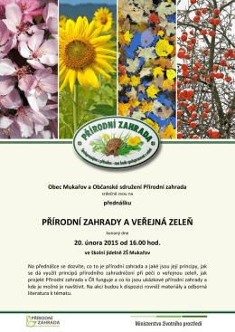 Obec Mukařov a Občanské sdružení Přírodní zahrada