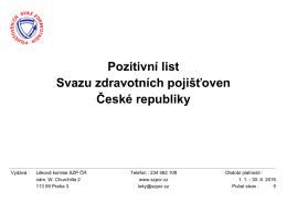 Pozitivní list Svazu zdravotních pojišťoven České republiky
