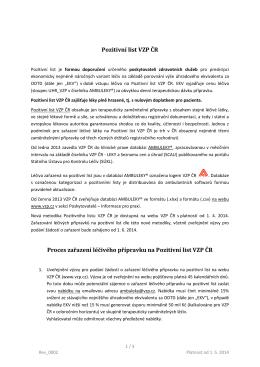Pozitivní list VZP ČR Proces zařazení léčivého přípravku na