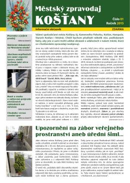 Městský zpravodaj Košťany č. 1-2015