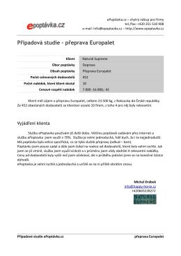 Případová studie – přeprava Europalet