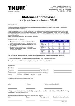 Formulář pro objednání náhradního kulového čepu