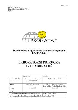 Laboratorní příručka - IVF laboratoř