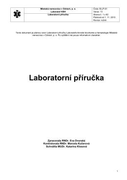 Laboratorní příručka - Městská nemocnice v Odrách, po