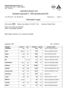 Laboratoř pitných vod Zkušební laboratoř č. 1454 akreditovaná ČIA
