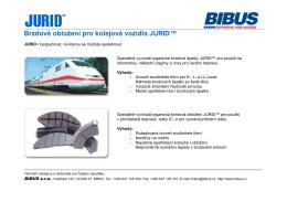 Brzdové obložení pro kolejová vozidla JURID™