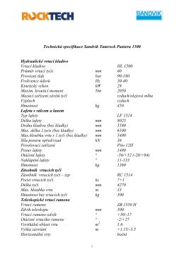 Technická specifikace Sandvik Tamrock Pantera
