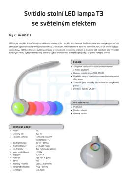 Svítidlo stolní LED lampa T3 se světelným efektem