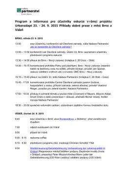 Program exkurze - Brno, Vídeň