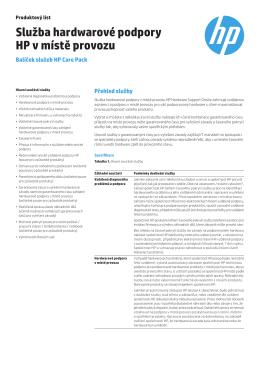 Produktový list HP CarePack