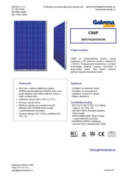 produktový list Galvena Solar - CS6P