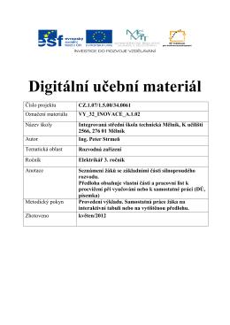 Digitální učební materiál - Integrovaná střední škola technická, Mělník