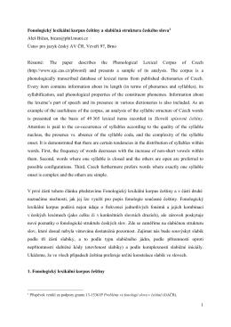 1 Fonologický lexikální korpus češtiny a slabičná struktura českého