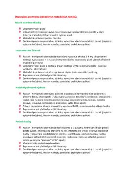 Doporučení pro tvorbu jednotlivých metodických námětů: Nácvik