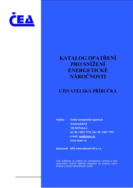 katalog opatření pro snížení energetické náročnosti