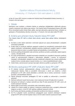 Opatření děkana PřF UJEP č. 1/2015