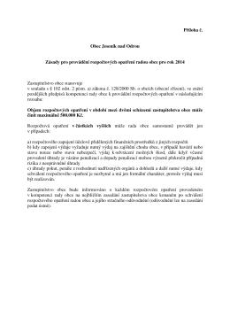 Návrh zásad pro provádění rozpočtových opatření radou obce 2014
