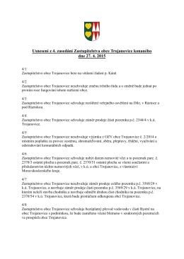 Usnesení z 4. zasedání ZO Trojanovice konaného dne 27.4.2015