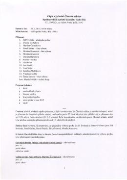 Členská schůze 26. 2. 2015, zápis