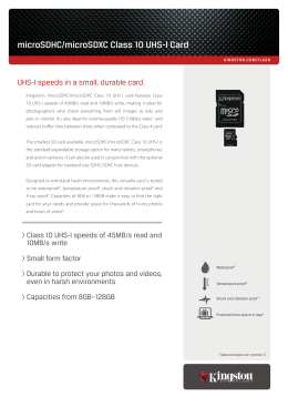 microSDHC/microSDXC Class 10 UHS-I Card