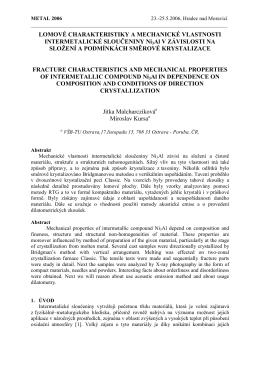 lomové charakteristiky a mechanické vlastnosti intermetalické