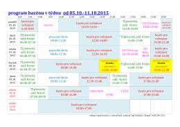 program bazénu v týdnu od 05.10.