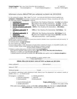 Informace o kurzu ANGLIČTINY pro veřejnost na školní rok 2015