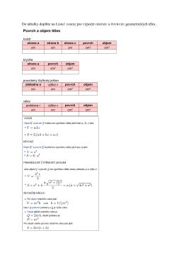 Do tabulky doplňte na Listu1 vzorce pro výpočet OBJEMU a