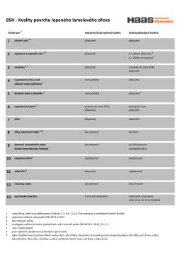 BSH - Kvality povrchu lepeného lamelového dřeva