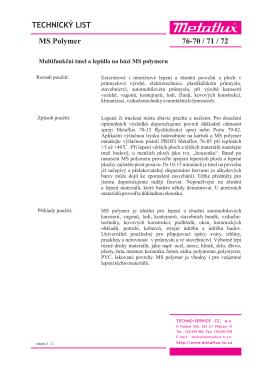 Technický list - TECHNO